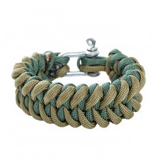DZI Shark Tooth Paracord Survival Bracelet with Metal Shackle